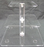 Hot Sale Square Lucite Display Racks ,3 Tiers Acrylic Plastic Cupcake Stand