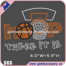 Basketball rhinestone heat transfer design, Hoop there it is rhinestone transfer