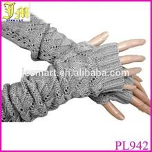Fashion Women Ladies Black Gray Crochet Knit Stretch Long Fingerless Arm Warmers Gloves Cheap