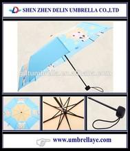 All blue color cartoon umbrella 3 fold, ladies folding umbrella