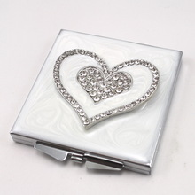 foldable side makeup mirror rectangle girls like mirror 3d picture metal compact mirror blanks