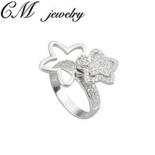 CM CZ 925 Sterling Silver Star Ring_Fashion Star Shape Zircon Ring