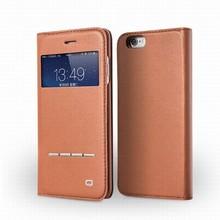 2014 QIALINO New Designer Sensing Window-View Genuine Leather Case for iphone 6 Case 4.7inch Luxury Flip Cover Ultra Slim Khaki