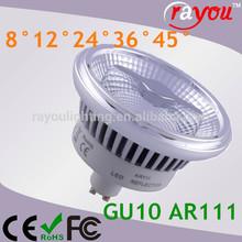 Double reflector led ar111 cob, anti glare ar111 led dimmable, 10w 15w reflector cob ar111 led with CE&RoHS