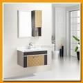 Wall montado bacia de lavagem cerâmica com anexado armário moderno 304 açoinoxidável banheiro sanitário sp-6224 set