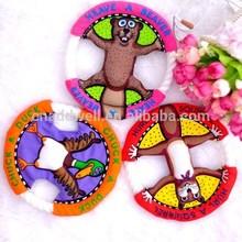 cartoon flying disc shaped canvas pet toys