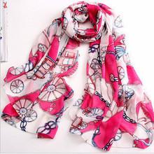 WJ25 retro winter essential small carriage chain pattern print chiffon scarf shawl wild scarves