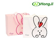 White Pink Irregular Shape Rabbit Toy Child Clothes Craft Gift Bag