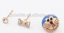 Korean style cartoon doraemon stub earrings bowknot earrings combination of stud earrings for lovely girls