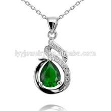 Green stone snake design 925 silver pendant