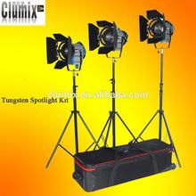 3X 650W Kit Fresnel Tungsten Lights Video Spot Light Spotlight