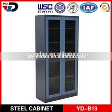 180 degree open door tall steel book rack cabinet with swing glass door