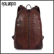 Luxury style crocodile grain leather high school backpack