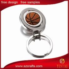 rotatable metal key chain with basketball