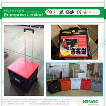 portable plastic folding box trolley on wheels