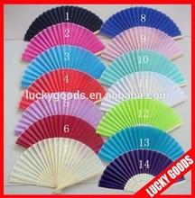 decorative bulk silk hand fans wedding favors in plain color