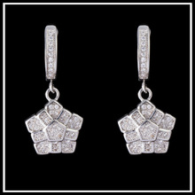 2015 Popular Hip Hop Bling Crystal Unique Drop Earring Geometric White Gold Plated Jewellery