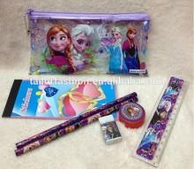 pencil bag frozen wholesale pencil bag/pencil/ruler/sharpener/eraser 5 pcs set
