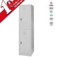 corner two door bedroom wardrobe with hanging rods / narrow freestanding 2 door steel locker bedroom furniture design