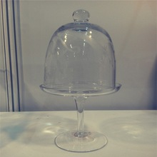 Handmade glass cake stand with dome