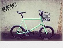 Light green 20 inch mini fixie bike with basket handle bar