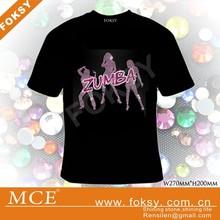 ZUMBA dance rhinestone transfer iron on custom T-shirt 2014