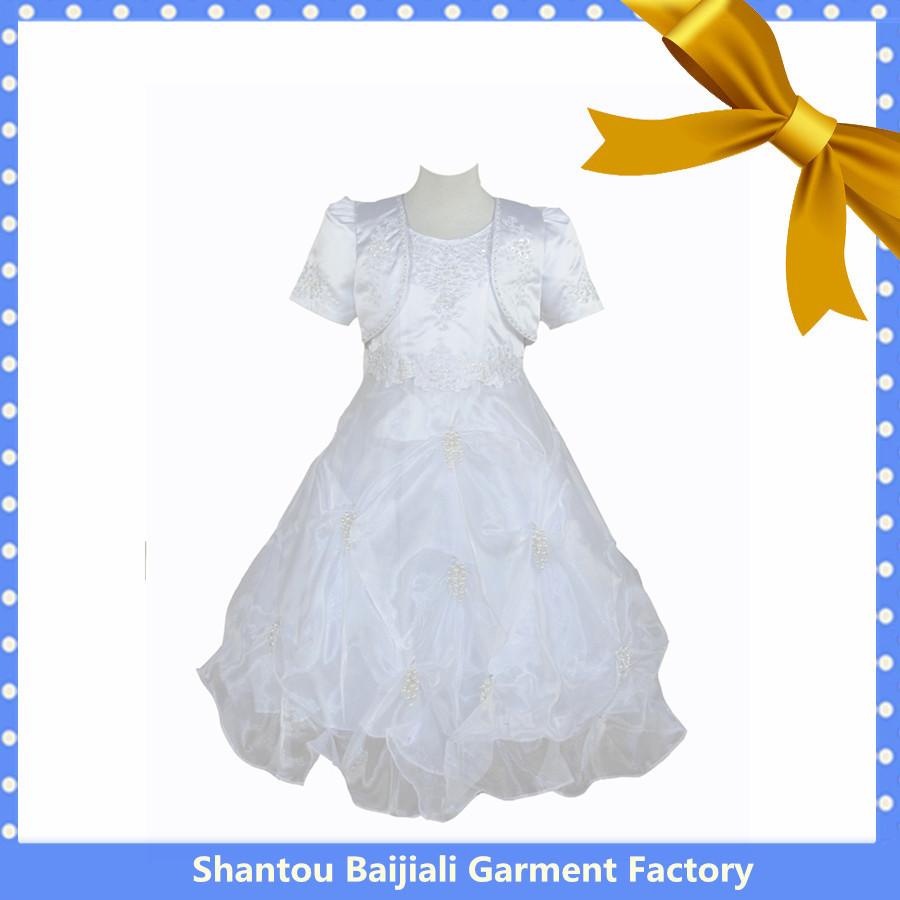 2014 Best selling branco girl comunhão vestidos