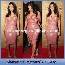 Style Number M169 pink pencil dress sweet heart mid-calf Strapless kim kardashian celebrity dresses