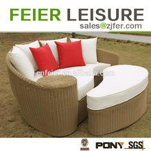 elegant durable rattan round lounge bed \/ beach sofa set