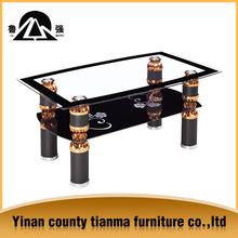 economic 2-tier glass coffee table