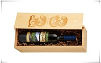 Natural Wooden Wine Box/Wine Case with Handle For Single Bottle, Eco-Friendly
