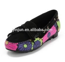 flower printing handmade genuine leather ladies loafers shoes
