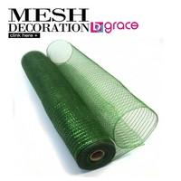 dark green pp deco mesh wreath with metallic thread for christmas decorations