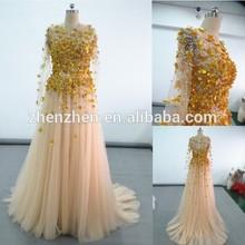 Hot Sale CJ-R0115 Gold Flower Tulle Sheer Top Long Sleeve Evening Dresses Turkey