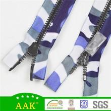 #8 Shinny black nickel teeth double slider metal zipper custom zipper pulls fancy tape zipper
