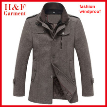 Double collar mens winter jackets and coats with fur fabric in coffee