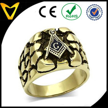 Best Quality Gold Ion Plated Stainless Steel Tarnish Free Rugged Masonic Mason Mens Ring