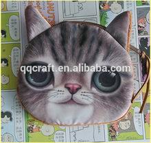 Girls Womens Fashion 3D Cat Head Face Printed Chain Handbag Purse Messenger Bag