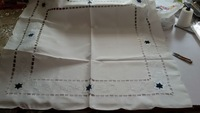 embroidered christmas table cover navy star taclecloths