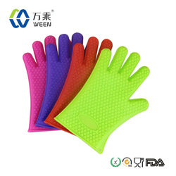 Kitchen Durable kitchen five fingers silicone mitt/ Silicone Oven mitt/silicone heat resistant mitt