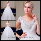 2015 Free Shipping ball gown sweetheart cap sleeve hand crystal beaded wedding dresses dubai