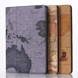 Leather case , New arrival stand leather case for iPad air 2 with map design