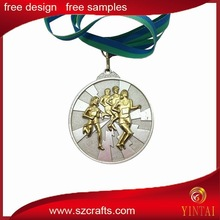 2015 new design free sample race match gold & silver plated metal medal