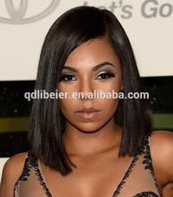 Short human hair wig for black women , Ashanti Inspired Full Lace Wig Summer Bob Cut Human Hair Wig