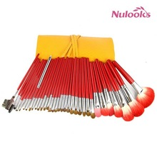 china yiwu supplier color shine makeup brushes 34pcs set with light yellow pouch red brushes