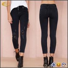 las mujeres de moda largo personalizado ripped skinny jean de mezclilla