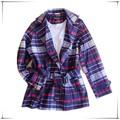 Dama de la moda largo abrigo/ropa de lana diseños para las señoras/falso abrigo de terciopelo abrigo de lana