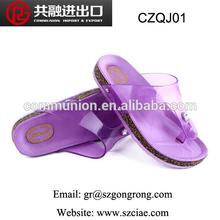 hot sale fashion comforable colorful/candy color wholesale crystal pvc flip flops jelly shoes