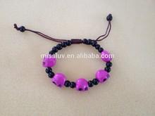 chunky turquoise skull beaded bracelet adjustable beaded bracelet jewelry