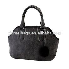 China Wholesale Vintage Style Grey Handbag with Top Zip, Basket Shape Lady's Shopping Handbag